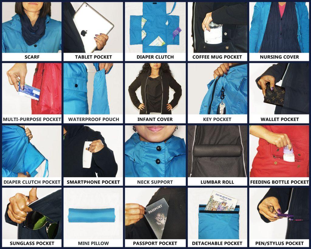 Momgeni jacket with multi-functional pockets